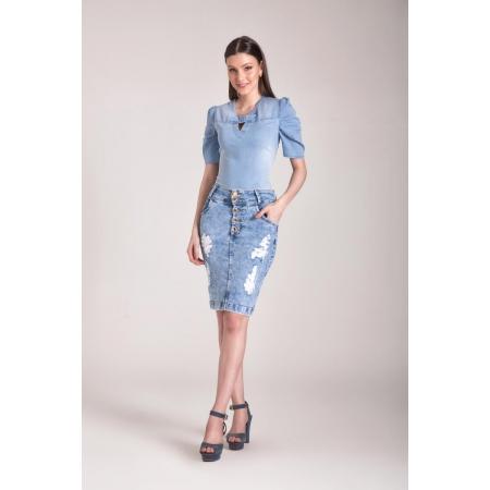 Saia Jeans Delavê Com Destroyed 55cm, Moda Evangélica - Laura Rosa