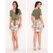 Saia Jeans Estampa Floral Com Cinto - Laura Rosa