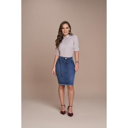 Saia Jeans Tradicional 50cm, Moda Evangélica - Titanium
