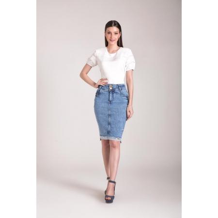 Saia Jeans Tradicional 62cm, Moda Evangélica - Laura Rosa
