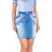 Saia titanium jeans com 4 botões 45 cm