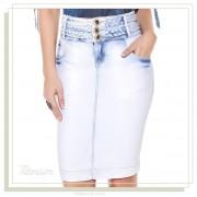 Saia Titanium Jeans com Cós Trançado