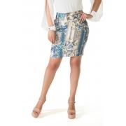 Saia Titanium Jeans com Floral Azul