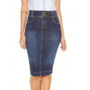 Saia Titanium Jeans Midi Detalhe No Bolso