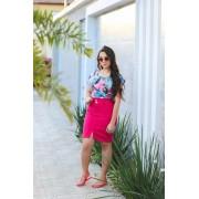 Saia Vecchi Jeans Pink Com Destroyed Na Barra