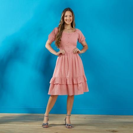 Vestido Acácia, De Lese Com Detalhe Em Botão, Moda Evangélica - Tatá Martello