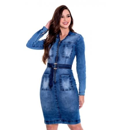 Vestido Ana Jeans Zíper Frontal, Moda Evangélica - Hapuk