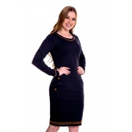 Vestido Carolina De Malha Jeans, Moda Evangélica - Hapuk