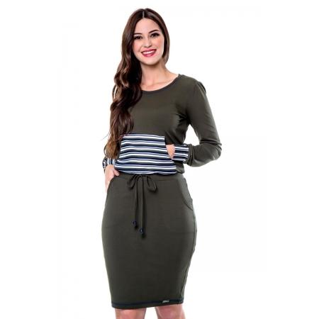 Vestido Evellen Malha Lisa Com Compose De Malha Listrada, Moda Evangélica - Hapuk