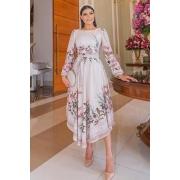 Vestido Floral Barra Assimétrica - Jany Pim