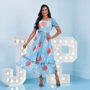 Vestido Midi de Tule Estampado - Jany Pim
