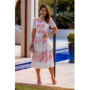 Vestido Midi Floral Manga Bufante - Jany Pim