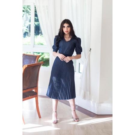 Vestido Plissado Jeans 115cm, Moda Evangélica - Titanium
