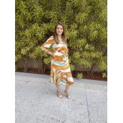 Vestido Social Com Babado e Amarração - Cechiq