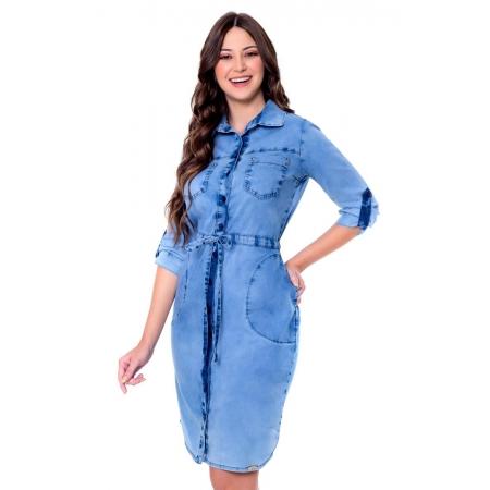 Vestido Sonia, Jeans Com Cordão, Moda Evangélica - Hapuk