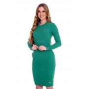 Vestido Victoria Malha Canelada Zíper no Decote, Moda Evangélica - Hapuk