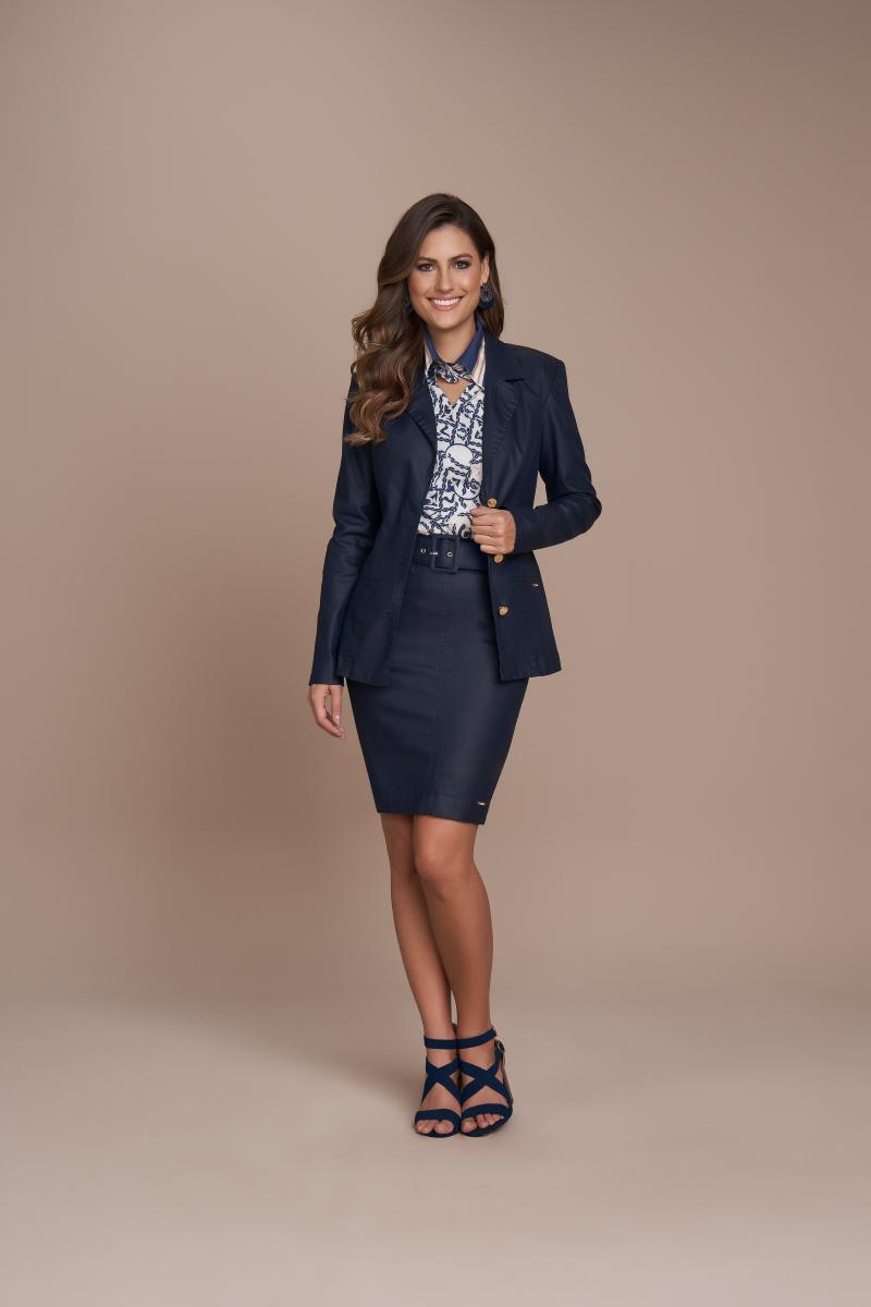 Blazer Jeans Resinado, Moda Evangélica - Titanium