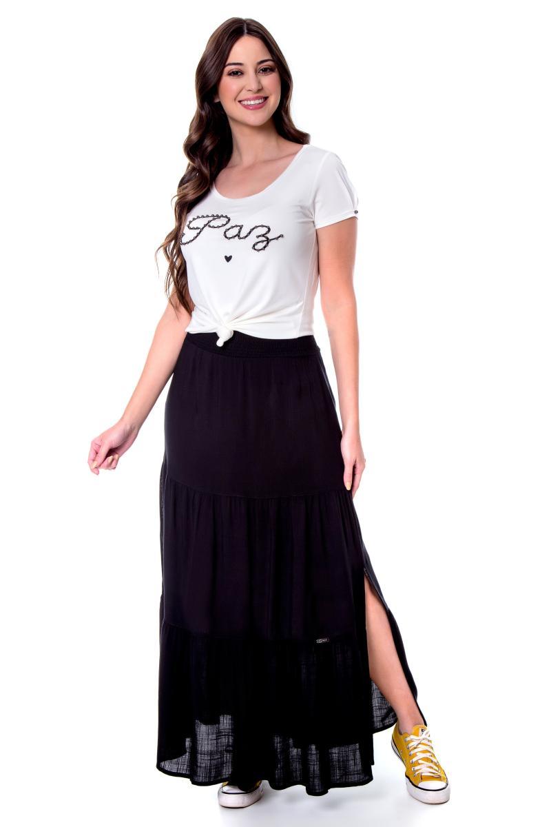 Blusa dandara, malha com bordado, moda evangélica - hapuk