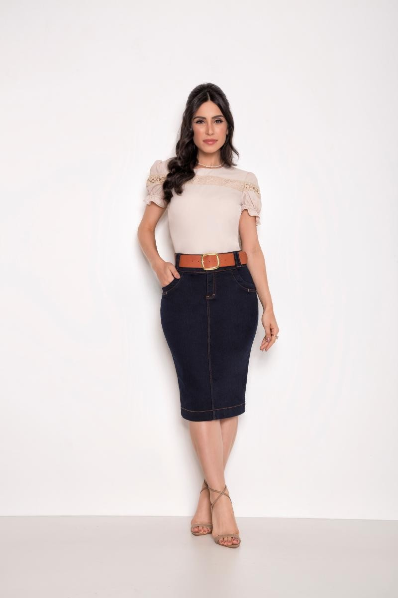 Blusa De Crepe Com Entre Meio - Laura Rosa