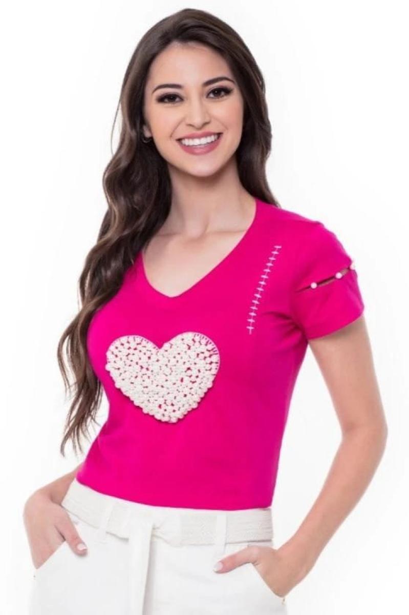 Blusa de Malha com Coração de Pérolas - Hapuk