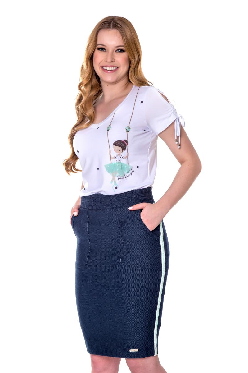 Blusa Elsa de Malha com Viscose e Elastano, Moda Evangélica - Hapuk