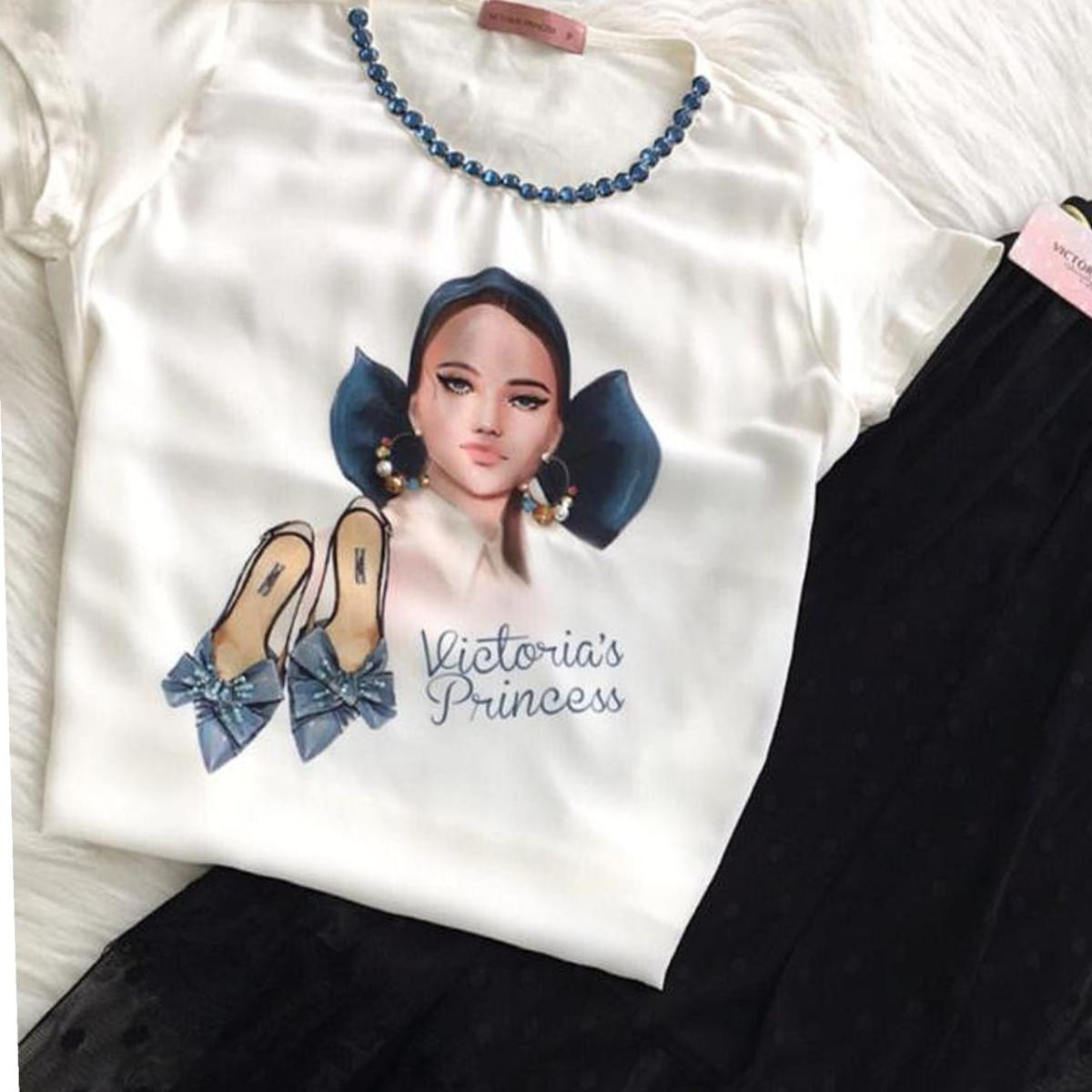 Blusa Estampa Sapato Azul - Victorias Princess