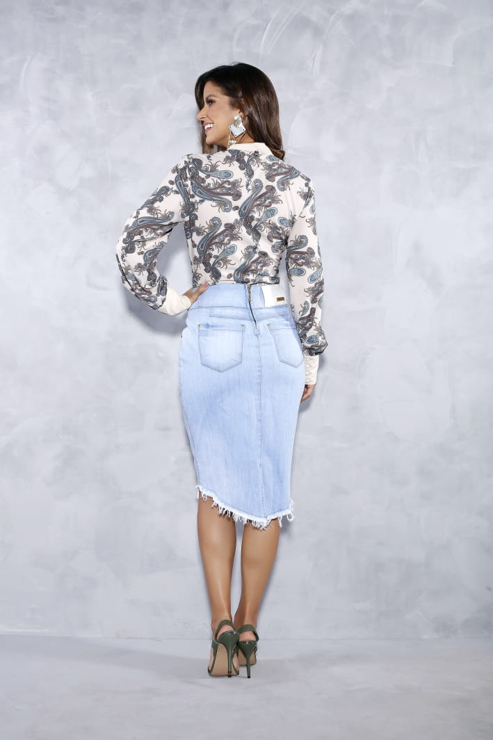 Blusa Estampada Com Laço - Titanium