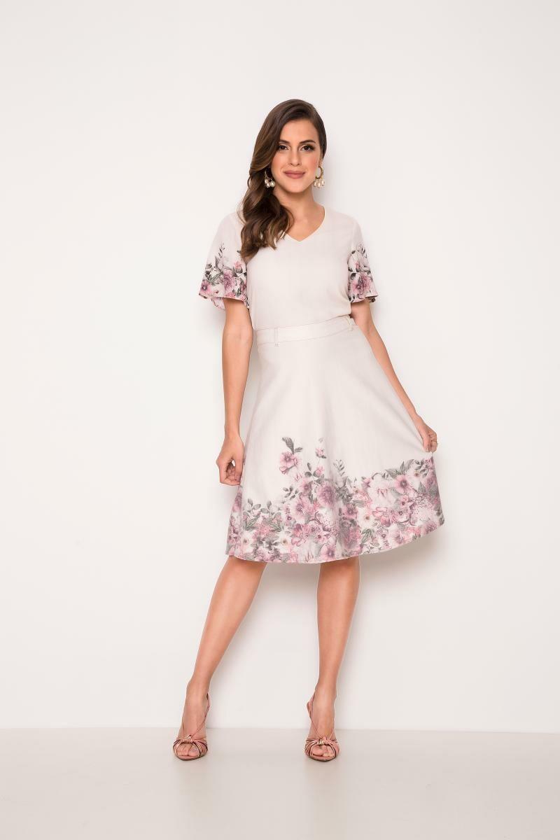 Blusa Floral De Crepe - Laura Rosa