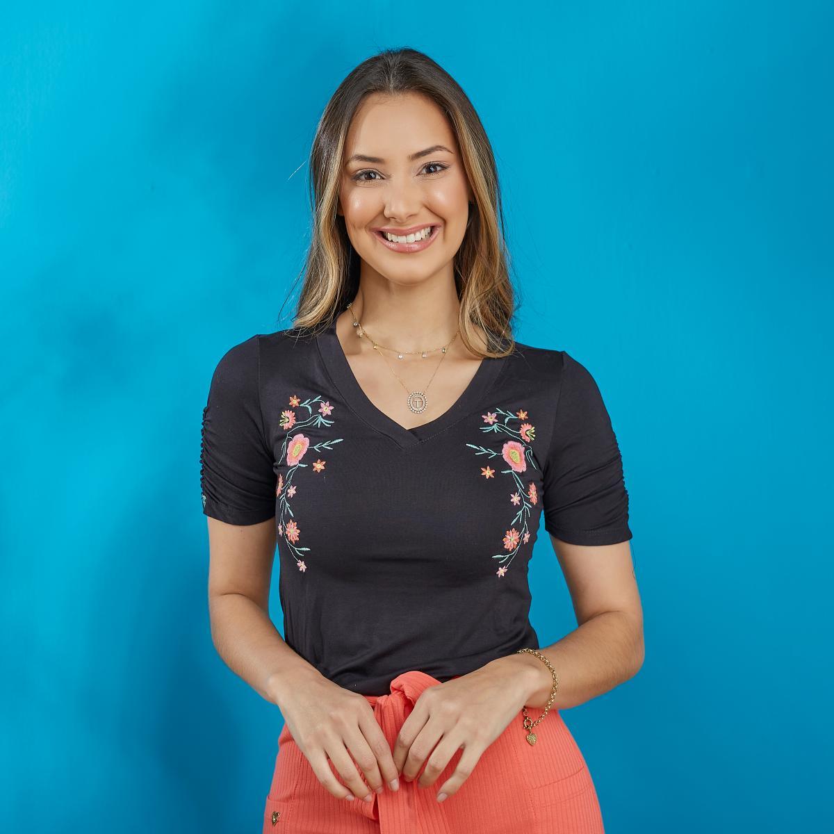 Blusa Girassol Malha Viscolycra, Decote em V, Moda Evangélica - Tatá Martello