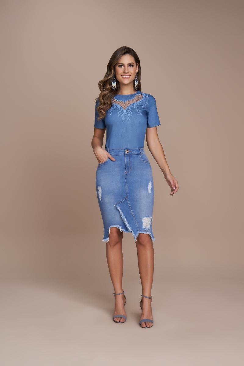 Blusa Jeans Com Bordado Industrial, Moda Evangélica - Titanium