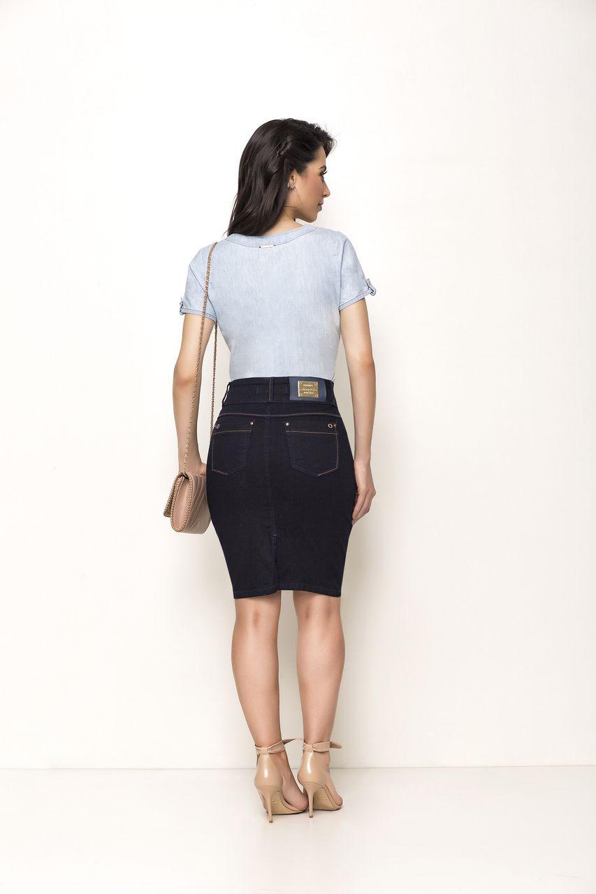 Blusa Laura Rosa Jeans Com Amarração Na Barra