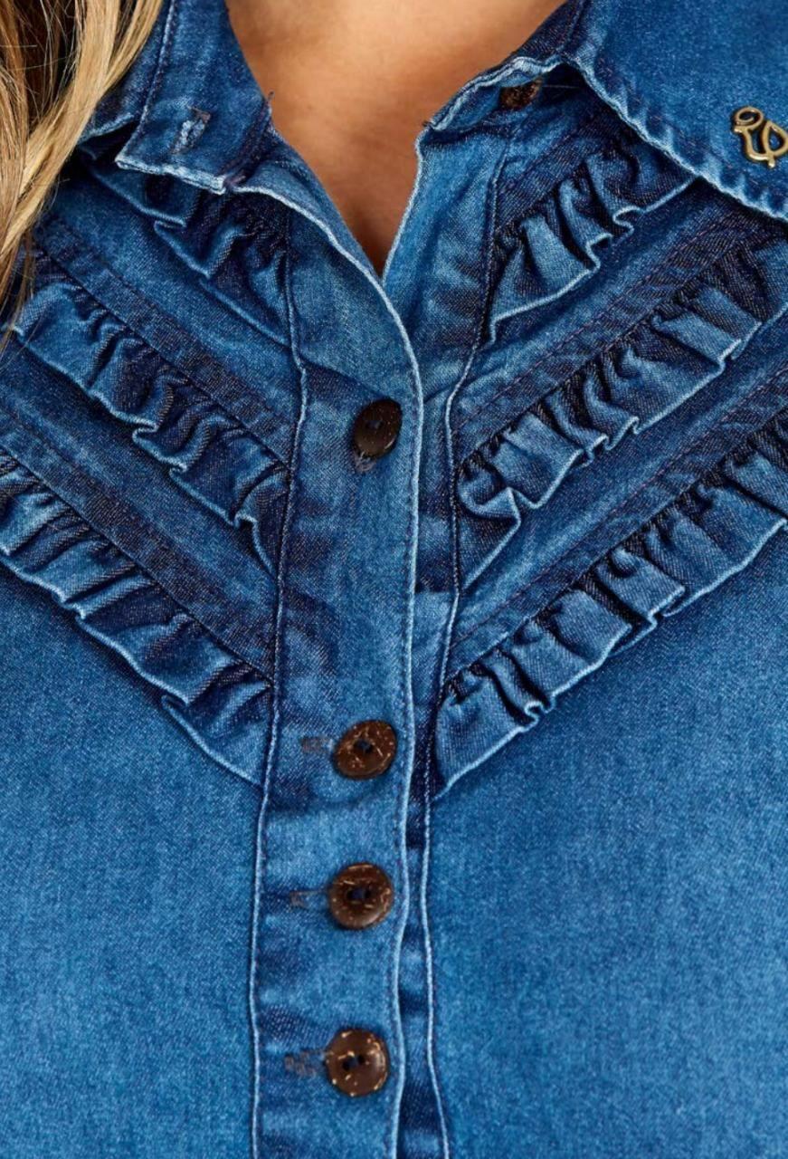 Camisa Jeans Com Babadinhos Na Frente - Via Tolentino