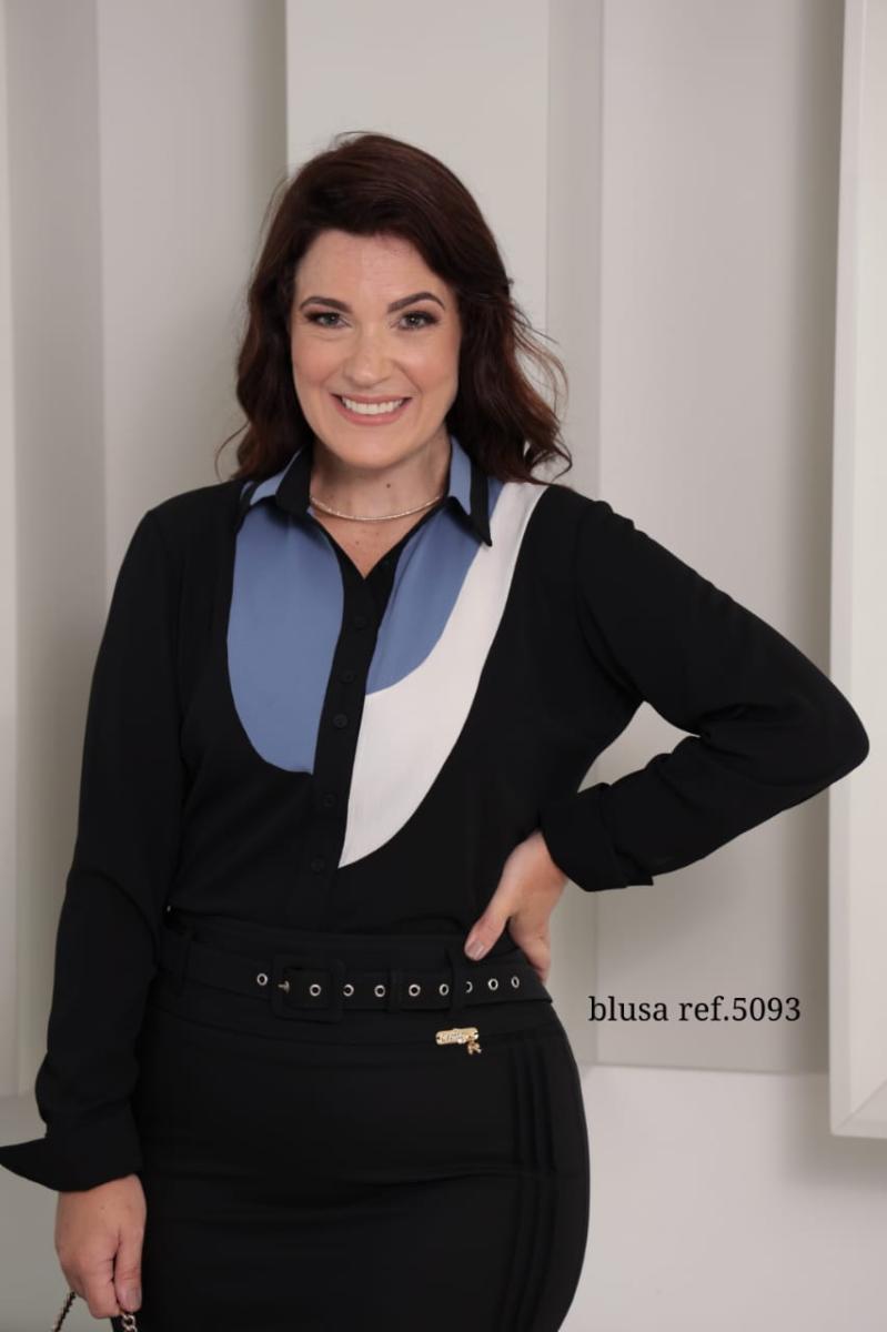 Camisa multi color crepe crisp, moda evangélica - cechiq