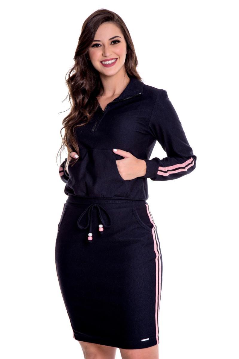 Conjunto Jessica Malha Denim, Moda Evangélica - Hapuk