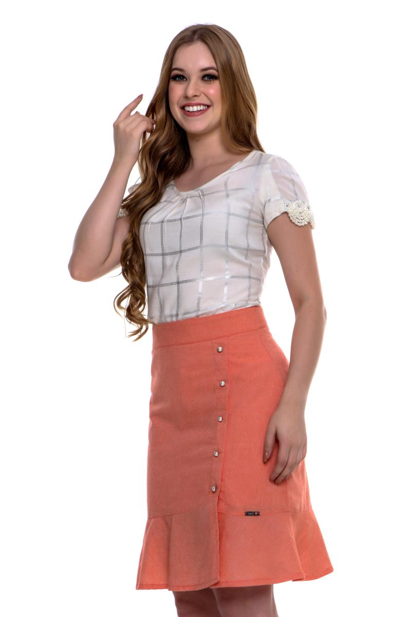 Conjunto mirela blusa xadrez saia lisa, moda evanélica - hapuk