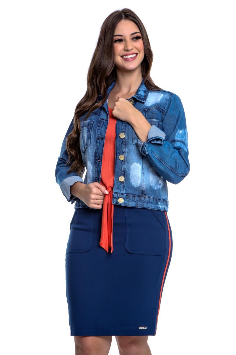 Jaqueta Mariana Jeans Com Bolso, Moda Evangélica - Hapuk