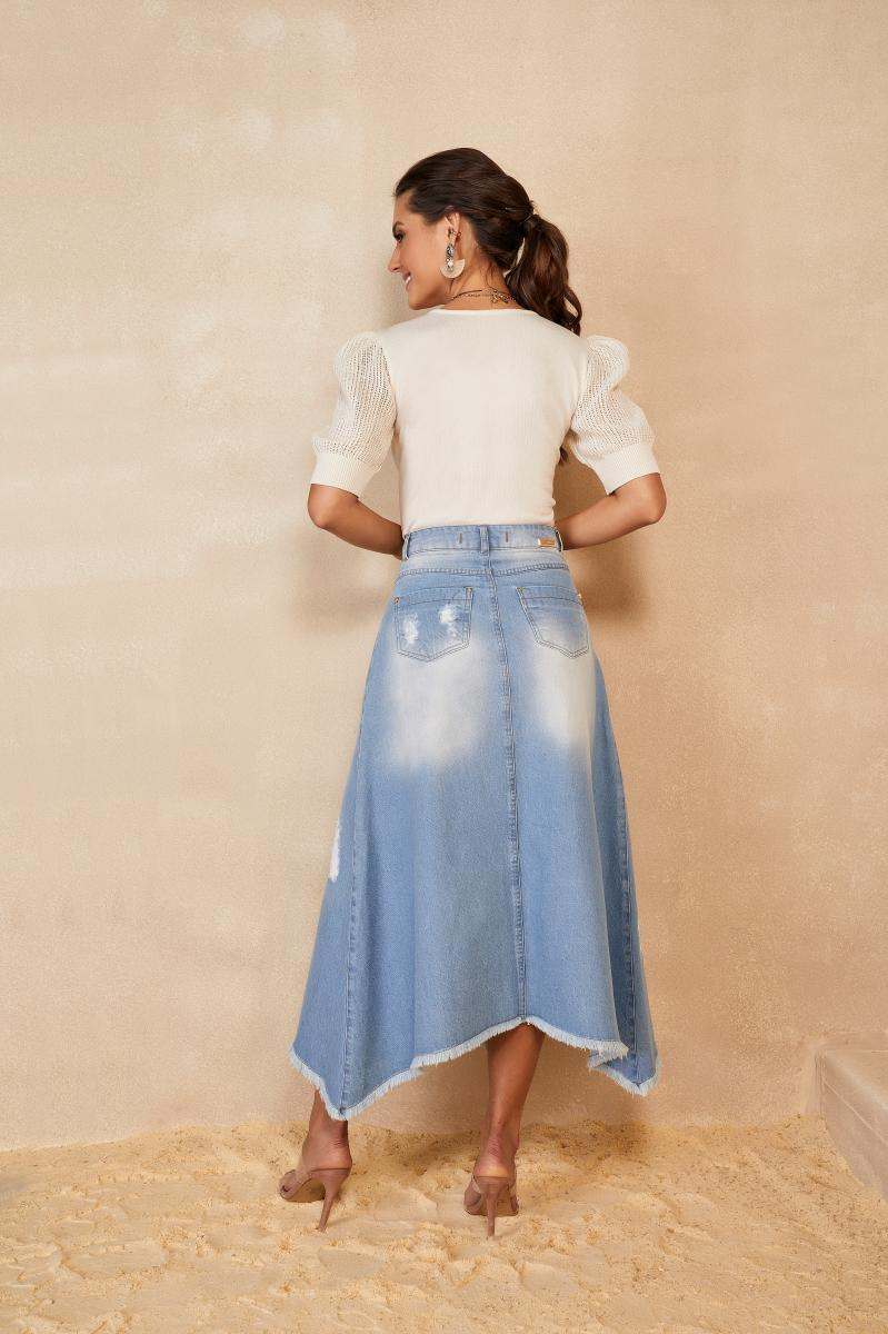 Saia Evase Jeans Com Recortes - Titanium