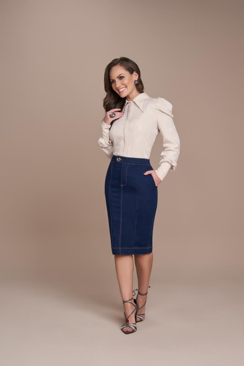 Saia Jeans Alfaiataria 62cm, Moda Evangélica - Titanium