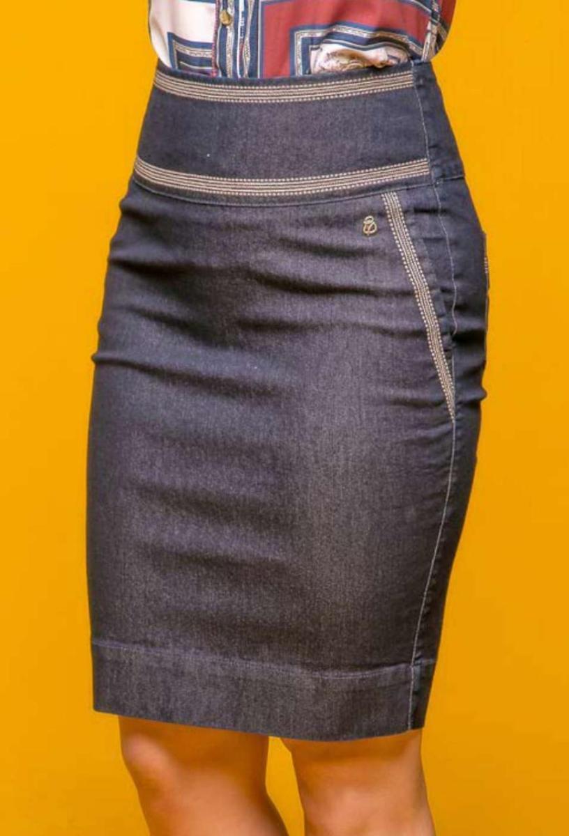 Saia Jeans com Bordado - VT