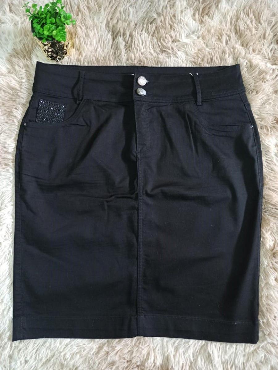 Saia Jeans Com Brilho No Bolso - Titanium