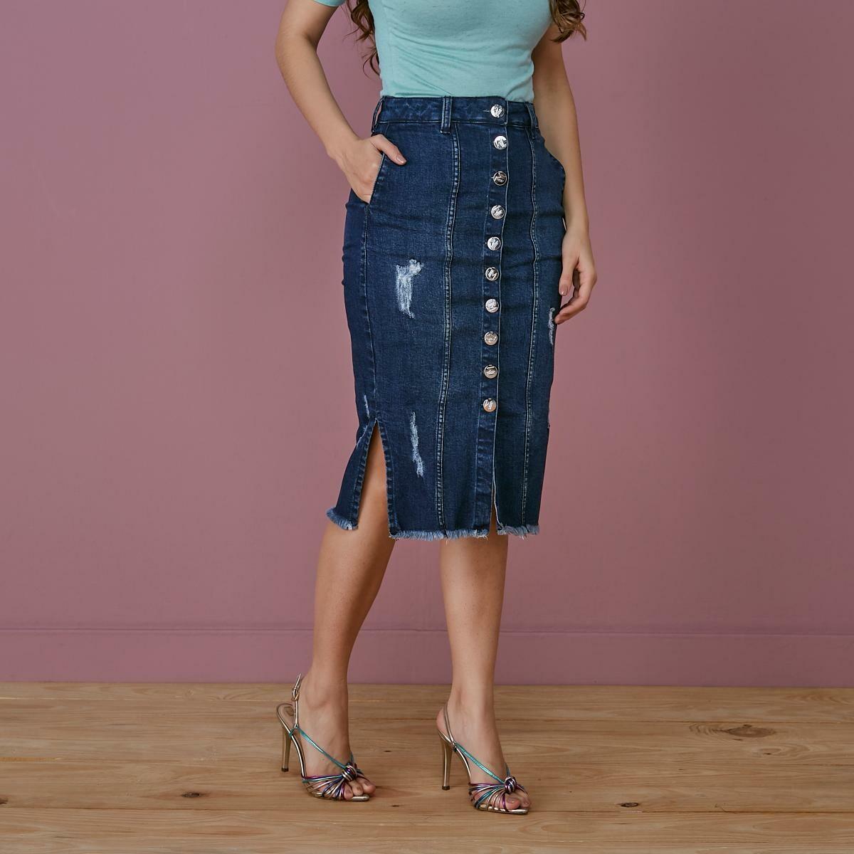 Saia Jeans Com Detalhe Em Botões - Tatá Martello