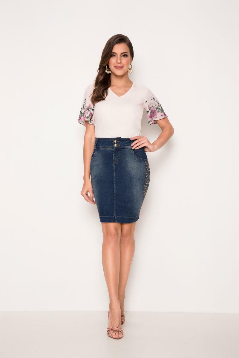 Saia Jeans Com Detalhe Em Taxas Na Lateral - Laura Rosa