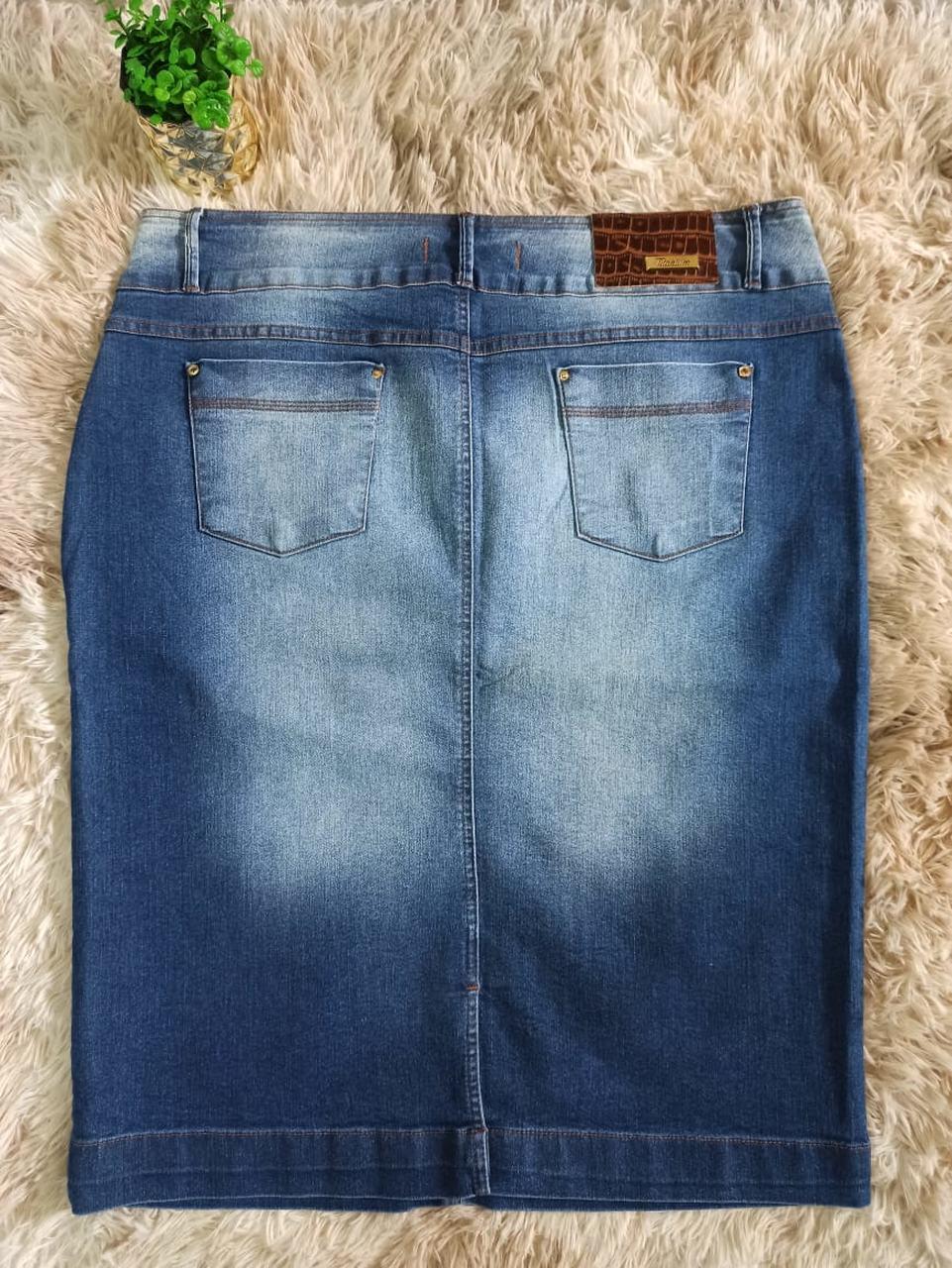 Saia Jeans Com Detalhe Em Ziper No Bolso - Titanium