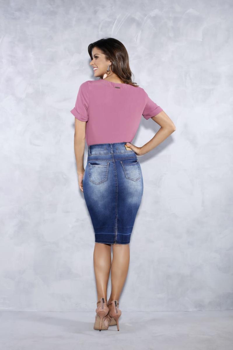 Saia Jeans Com Detalhe Na Barra - Titanium