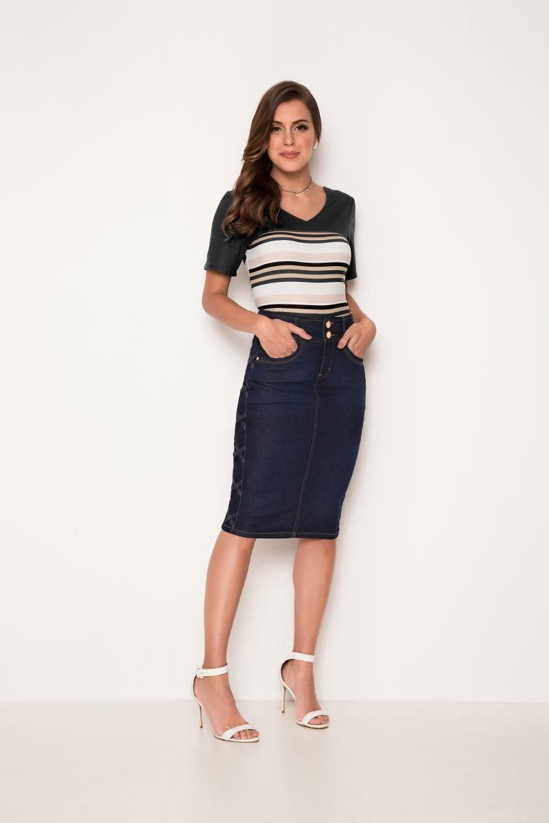 Saia jeans com detalhe trançado na lateral - laura rosa