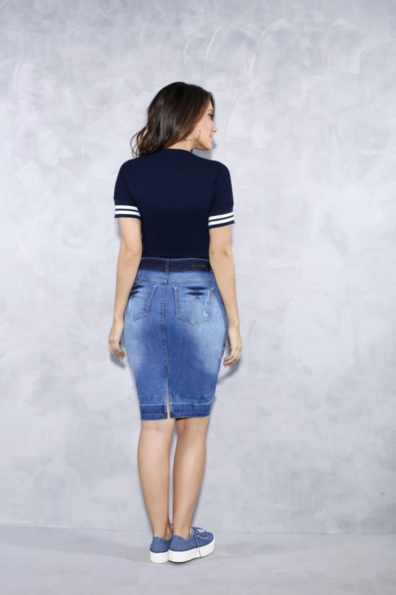 Saia Jeans Com Meio Ziper Frontal - Titanium