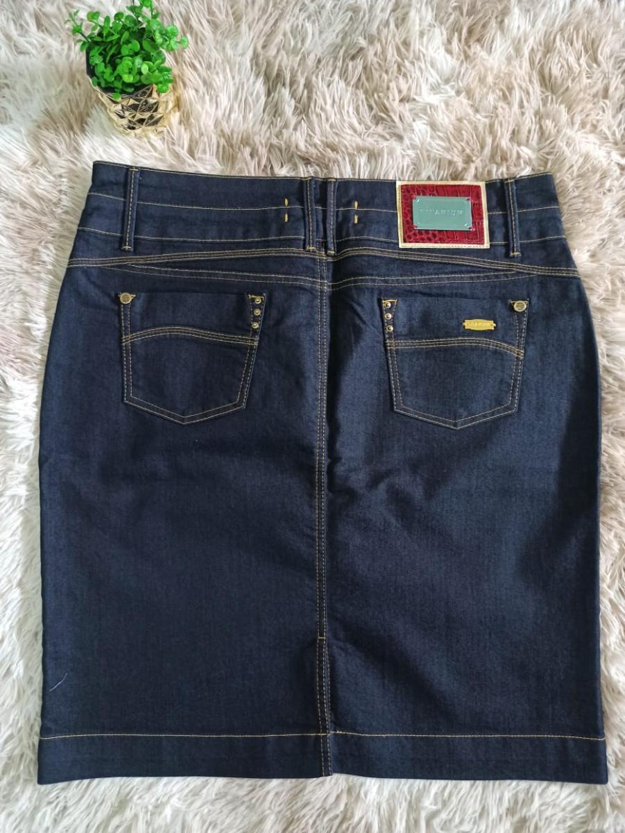 Saia Jeans Com Recorte Atrás - Titanium
