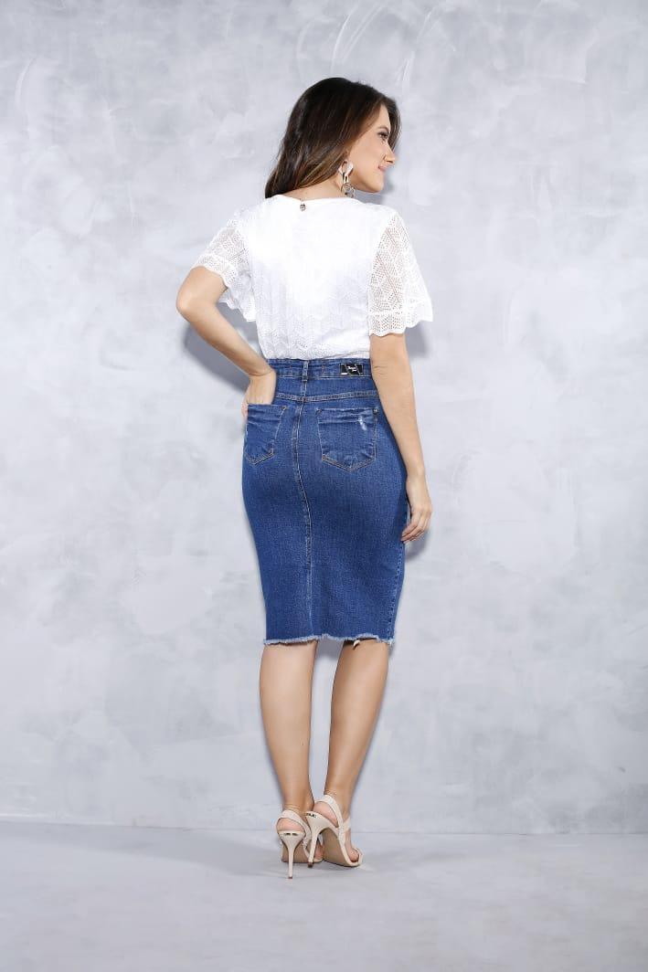 Saia Jeans Com Recorte Na Barra E Bordado - Titanium