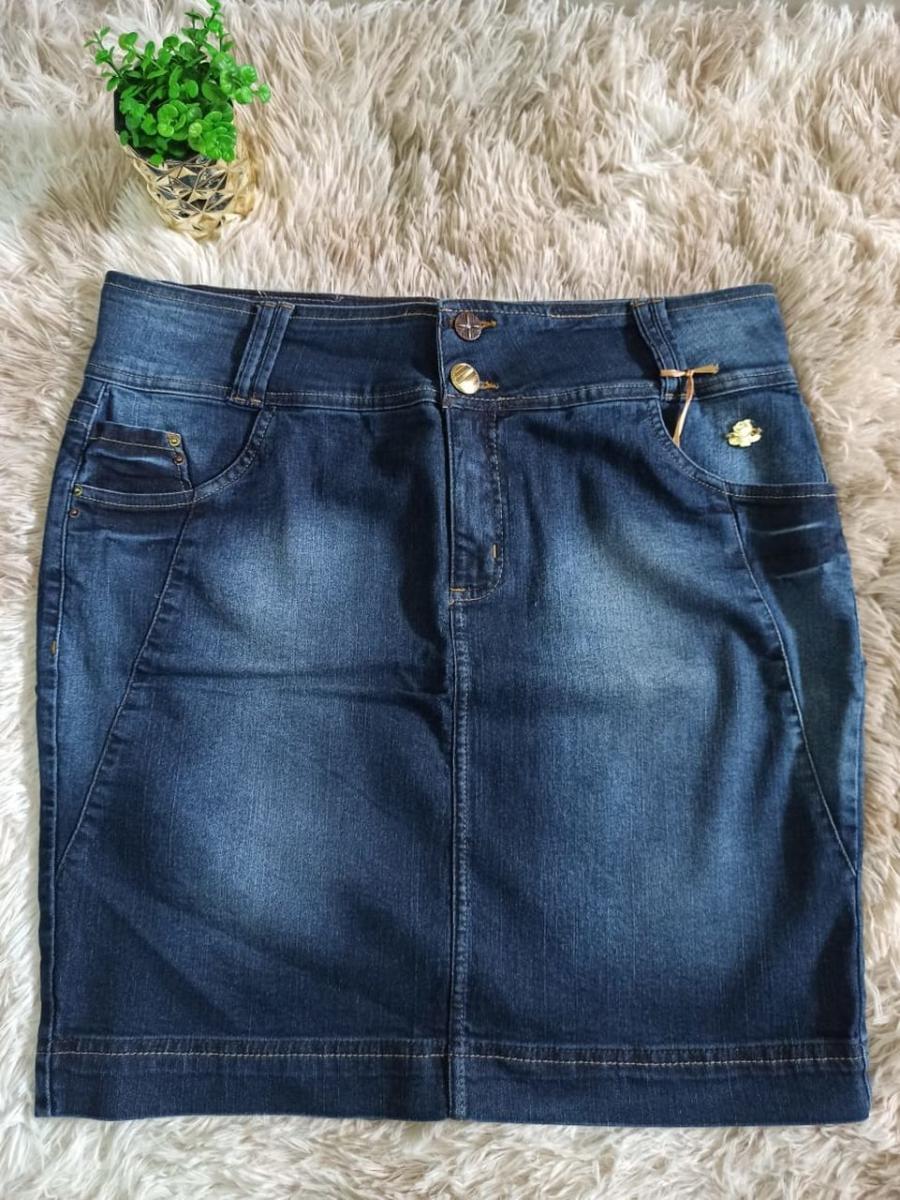 Saia Jeans Com Recorte Na Lateral - Laura Rosa