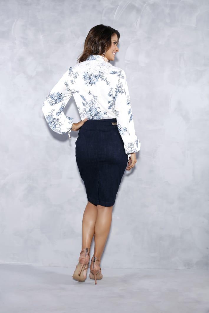 Saia Jeans Com Ziper e Costura No Cós - Titanium
